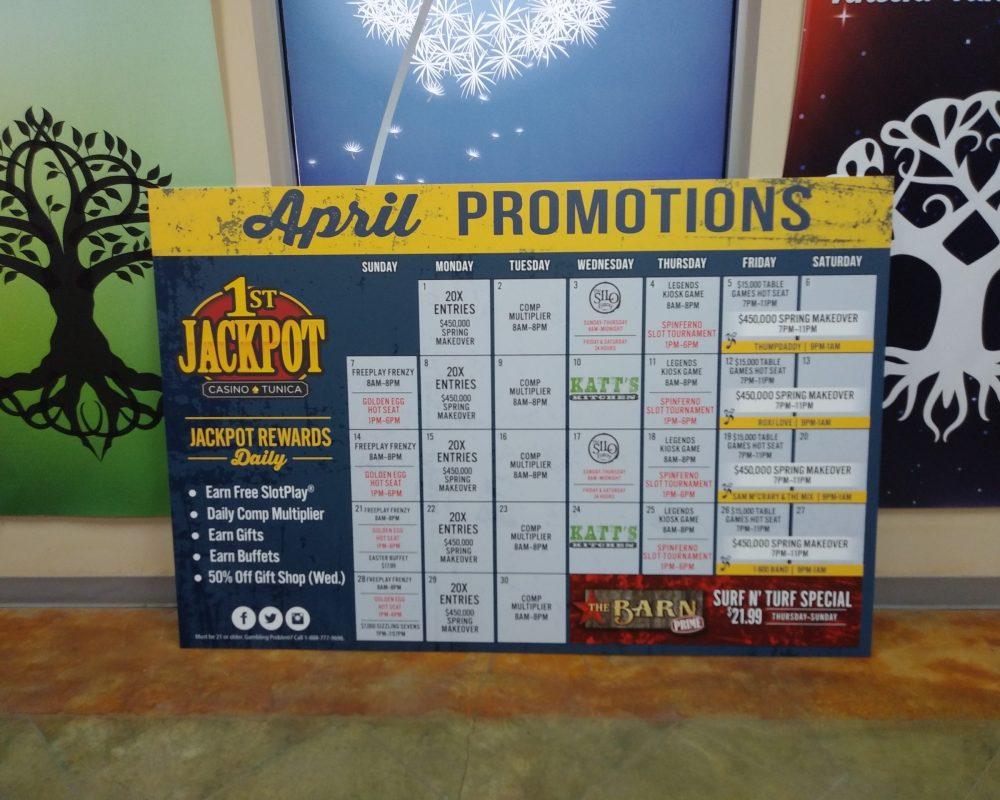1st Jackpot Casino Calendar Sign Pic