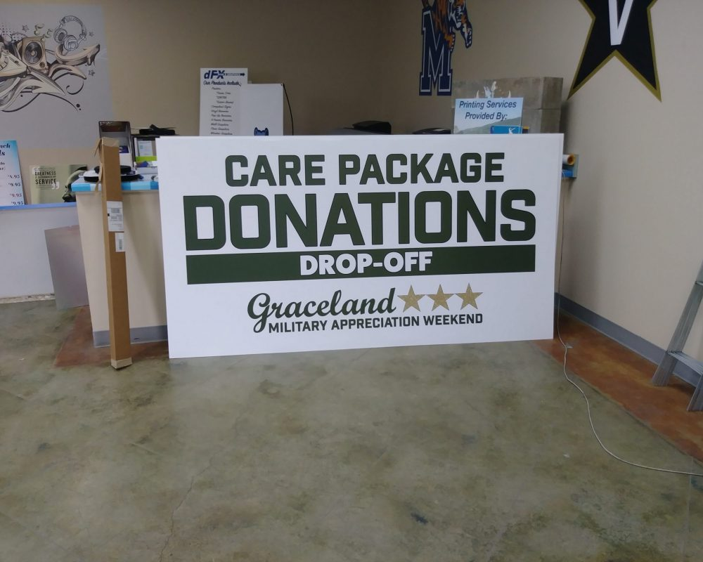 Graceland Care Package Donation Sign Pic